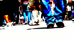 Solarized crowd walking from legs down Stock Footage