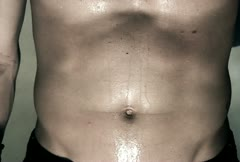 Extreme Close Up Male Stomach During Workout Stock Footage