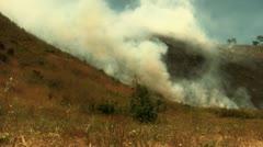Hillside fire burns up vegetation Stock Footage