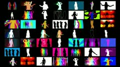 Shadow dancers multi screen Stock Footage