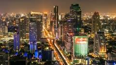 BANGKOK NIGHT SKYLINE - TIME LAPSE Stock Footage