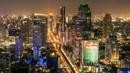 Stock Video Footage of BANGKOK NIGHT SKYLINE - TIME LAPSE