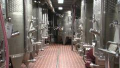 Wine distilling vats at a winery - stock footage