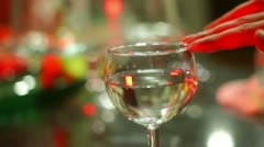 Frequency flass wine trick 1 Stock Footage