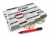 Search job. newspaper with advertisments, glasses and marker. Stock Illustration