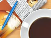 Coffee cup,  newspaper and pen on table. 3d Stock Illustration