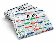 Stock Illustration of search job. newspapers with advertisments.