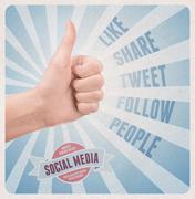 Retro style poster of social media service Stock Photos