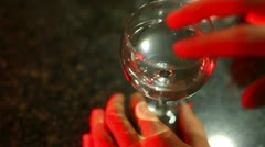 frequency flass wine trick2 - stock footage
