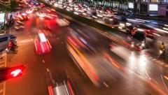 TIME LAPSE OF NIGHT TRAFFIC IN BANGKOK Stock Footage
