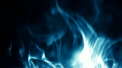 Blue Flames Dying down on Black Background - stock footage