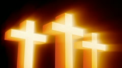 Three Gold Crosses with Glow Rays Stock Footage