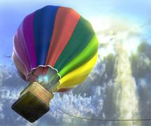 Stock Illustration of flying aerostat with basket, sun flare and cloud layer, and place for text