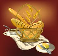 Basket with food,bread and coffee cup Stock Illustration