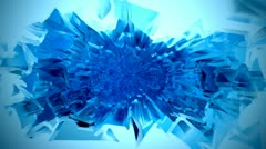 Blue chromatic ice cube plasma spray with spotlight - stock footage
