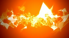Sharp triangle plasma spray over orange background with spotlight Stock Footage