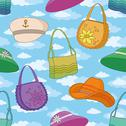 Seamless background, handbags and hats Stock Illustration