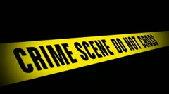Crime Scene Tape with Red and Blue flashes Stock Footage