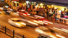 NIGHT TRAFFIC IN BANGKOK SUKHUMVIT Stock Footage