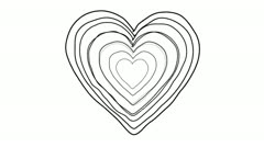 Black Heart shape echoed line art sequence on white - stock footage