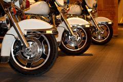 Police motorbike wheel2 Stock Photos