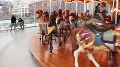 ane's Carousel in DuMBo Brooklyn, NY circa March 2013 - stock footage
