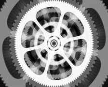 White Spinning Gears Loop on Black Background - stock footage