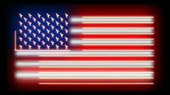 Outlined USA Neon Flag Stock Footage