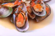 Stock Photo of steamed mussels