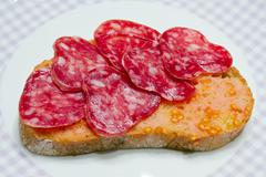 Catalan style tomato rubbed, about the scourge of rural style. Stock Photos