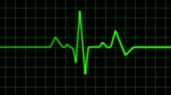 Green Heart Monitor Screen with Alpha Stock Footage