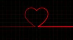Stock Video Footage of Heartbeat on EKG reveals heart shape with Matte