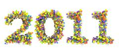 Abstract cubes font new year 2011 Stock Illustration