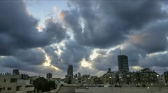Tel Aviv city time lapse cloud scape Stock Footage