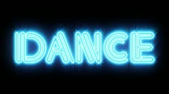 Blue DANCE Neon sign Stock Footage