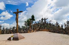 hill of crosses in lithuania - stock photo