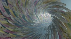 Euro currency tunnel fly through, light bloom, Alpha Stock Footage