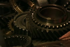 Gears and parts of a transmission torn apart Stock Footage