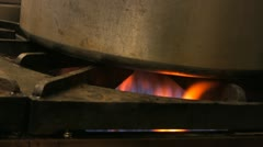 Food Service Industrial Pot over Gas Flame Stock Footage