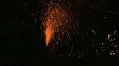 Barrel of fireworks go off Stock Footage