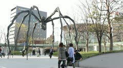 TOKYO - CIRCA MARCH 2013: Louise Bourgeois sculpture in Roppongi, Tokyo, Japan c Stock Footage
