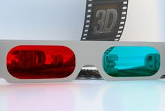 see through 3d glasses - abstract film - stock illustration
