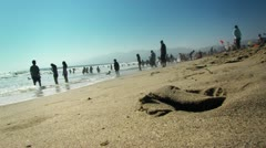 Low Angle of Beach Goers on Weekend Stock Footage