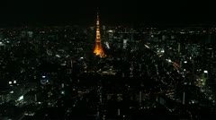 Night view of Tokyo skyline with Tokyo Tower Stock Footage