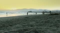Wide Angle View of Santa Monica Beach Stock Footage