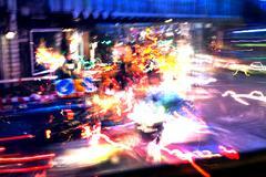 traffic rush on london street by night - stock photo