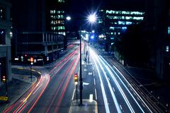 cars lights on london street by night - stock photo