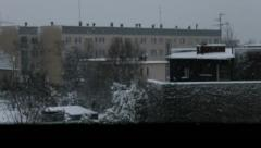 Roof window winter view focusing Stock Footage