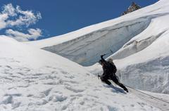 ice climber - stock photo