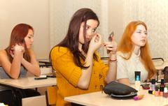 Girls  in the classroom during recess Stock Photos